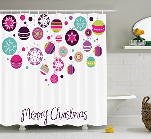 Ambesonne Christmas Shower Curtain, Colorful Graphic Baubles with