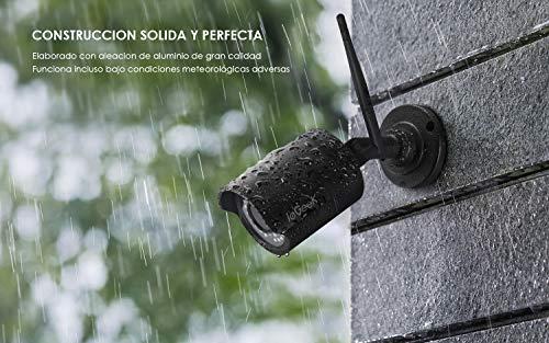 Cámara de Vigilancia Exterior, ieGeek HD 1080P Cámara IP Wi-Fi CCTV Inalámbrica, Impermeable IP66, Detección de Movimiento, Empuje de Alarma,...