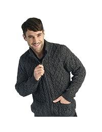 West End 100% Soft Irish Merino Wool Full Zip Aran Sweater Knitwear