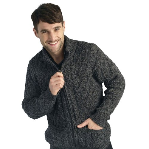 West End Knitwear Mens Merino Wool Full Zip Aran (Merino Cardigan Sweater)
