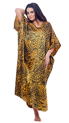 Print Mum (Up2date Fashion Caftan/Kaftan, Pretty Golden & Black Animal Print, Plus Size, Style#Caf31)
