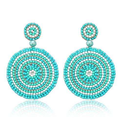 CEALXHENY Beaded Drop Earrings for Women Handmade Colorful Bead Earrings Bohemia Hoop Dangle Earring for Girls (C Blue)
