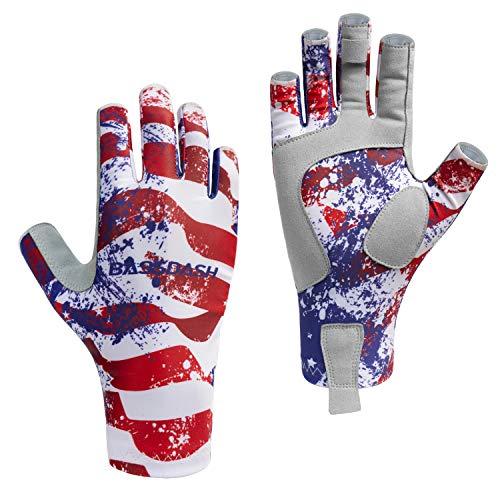 (Bassdash ALTIMATE Sun Protection Fingerless Fishing Gloves UPF 50+ Men's Women's UV Gloves for Kayaking Paddling Hiking Cycling Driving Shooting Training (Americana, M))
