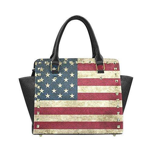 Unique Debora Custom Women's Purse Bag Rivet Shoulder Handbag Crossbody for USA Flag