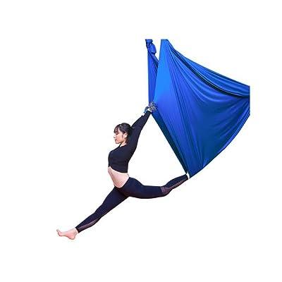Alger Anti-gravité Yoga Hammock Aerial Yoga Sling Strap Micro-élastique Stretch pour la maison, 500 * 280cm , blue