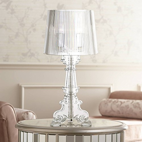 Baroque Accent Table Lamp Clear Acrylic See Through for Living Room Family Bedroom Bedside Nightstand Office - 360 Lighting