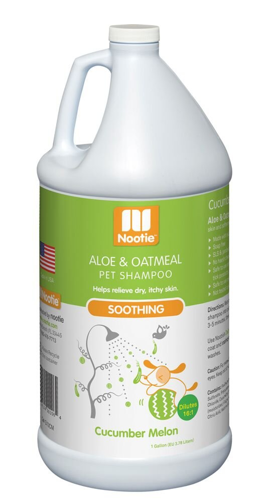 Nootie Soothing Aloe and Oatmeal Pet Shampoo, Cucumber Melon - 1 Gallon Size