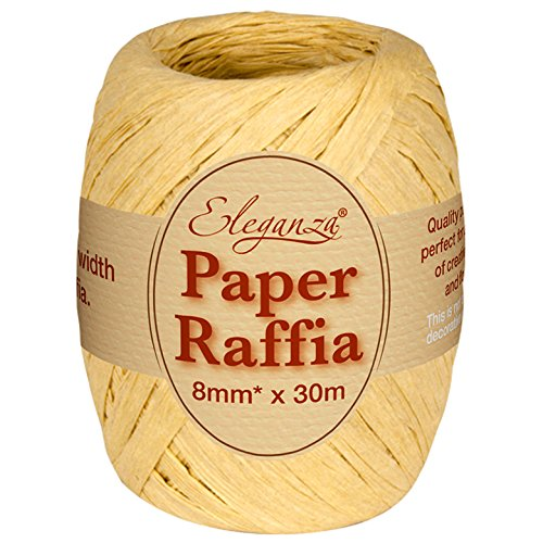 Eleganza 8 mm x 30 m Paper Raffia for Variety of Craft Projects and Gift Wrapping, No.02 Natural Oaktree UK 629950