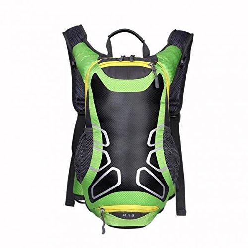 ノーブランド品 2個セット お買い得  防水布製 15L サイクリング リュックサック バックパック ハイドレーション パック ヘルメット 水袋 バック  全2色  - 緑色