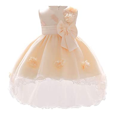 b625eb0df9 Amazon.com: IMEKIS Baby Girls Christening Baptism Dress Hi-Lo Gown ...