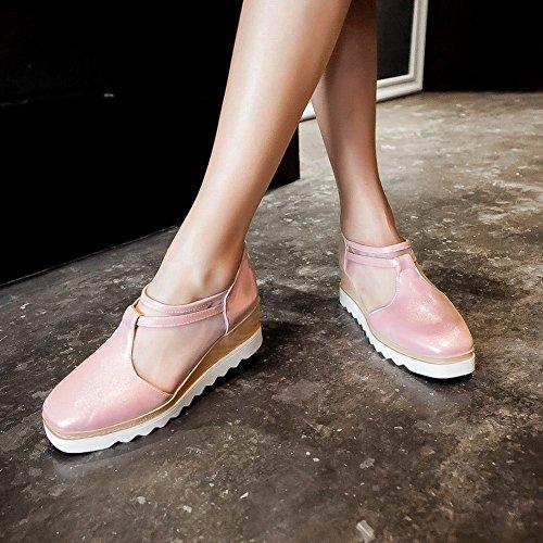 Charm Fot Kvinna Mode Mesh Dragkedja Kil Plattform Sandaler Rosa