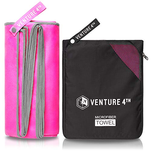 (VENTURE 4TH Microfibre Travel Towel - Sports Towel: Packable Personal Microtowel for Athletic Men and Women - Fluffy and Absorbing (Pink-Gray Medium))
