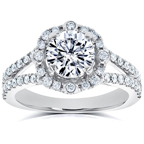 Moissanite (DEF) and Diamond Four Points Halo Split Shank Ring 1 1/2 CTW 14k White Gold, 6.5