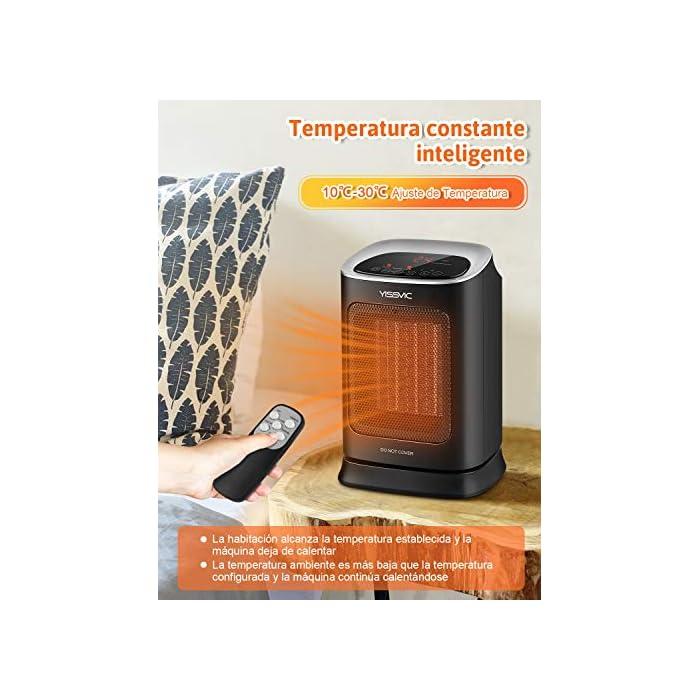 51ETozKguQL Calefacción Cerámica PTC: Se calienta rápidamente. El calentador está equipado con un elemento calefactor cerámico PTC para lograr un calentamiento rápido dentro de los 3 segundos posteriores al arranque Oscilación de 70° y Portátil: La oscilación automática asegura una distribución óptima del calor. La función de soplado de gran angular del calentador puede calentar un área grande. El calentador tiene un mango resistente. Esto se puede llevar fácilmente a cualquier lugar de la habitación Función de Temporizador y Termostato: Puede configurar la calefacción eléctrica individualmente entre 0 y 9 horas. Un termostato mantiene constante la temperatura que estableces. Los calentadores de temperatura ajustable pueden ahorrar energía al elegir la configuración más baja que mantendrá su entorno cómodamente cálido