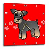 3dRose dpp_40887_1 Miniature Schnauzer Banded Brown Base Coat (Salt and Pepper) Cartoon Dog Red with Pawprints Wall Clock, 10 by 10-Inch Review