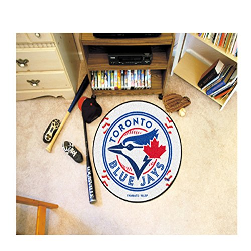 MLB - Toronto Blue Jays Baseball Mat 27 Inch Diameter Non Skid Rug Mat Floor Protector