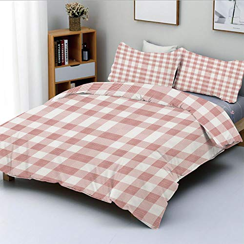 Duplex Print Duvet Cover Set Full Size,Picnic in Countryside Themed Gingham Pattern in Light Colors PrintDecorative 3 Piece Bedding Set with 2 Pillow Sham,Pink Light Pink White,Best Gift For Kids & Ad