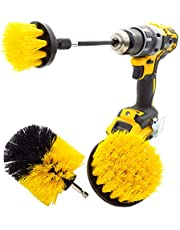 4 Pack Drill Brush Attachment Set- Electric Cleaning Brush kit- All Purpose Drill Brush with Extend Attachment for Bathroom Surfaces- Grout- Floor- Tub- Shower- Tile- Corners- Kitchen.(Yellow)