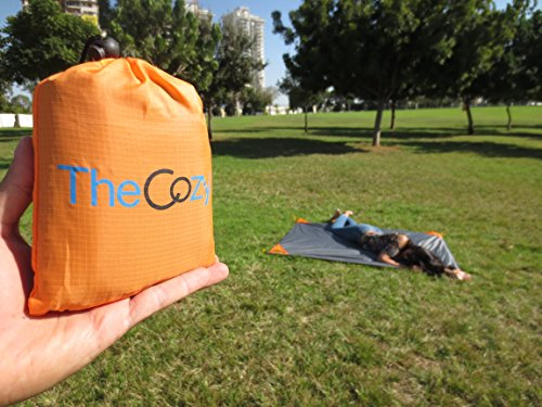 TheCozy Adventures Sand Free Compact Beach Blanket Pocket Picnic Sheet for Outdoor Multiple Use | Best Mat for Travel & Festivals, Soft & Quick Drying with 4 Portable Hiking Sticks (Orange)