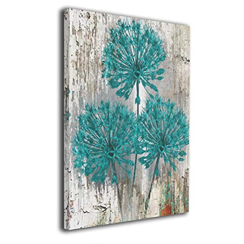 Framed Earrings Turquoise - customgogo Teal and Brown Turquoise Art Hand Painted Oil Painting Abstract Canvas Wall Art Modern Style for Living Room,Dinning Room Home Decor None Framed Stretched Ready to Hang