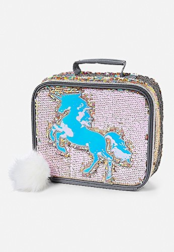 JUSTICE SEQUIN UNICORN BLING LUNCH TOTE BOX SCHOOL SOLD OUT  lunchbox