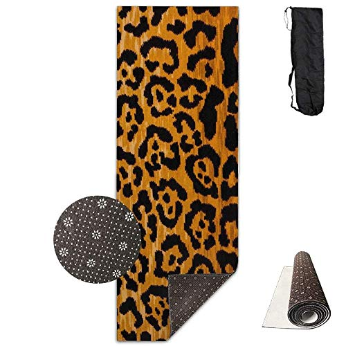 Bikini bag Yoga Mat Non Slip Leopard Print Printed 24 X 71 Inches Premium for Fitness Exercise Pilates with Carrying Strap (Leopard Yoga Mat)