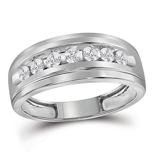 10k White Gold Mens Wedding Seven Stone Diamond Band Anniversary Ring Round Channel Set 1/2 ctw Size 8