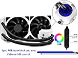 DEEPCOOL CAPTAIN 240EX RGB WHITE, Liquid CPU Cooler, Sync RGB Waterblock and Strip, Cable or Motherboard Control, 2×120mm PWM Fans, AM4 Compatible, 3-year Warranty