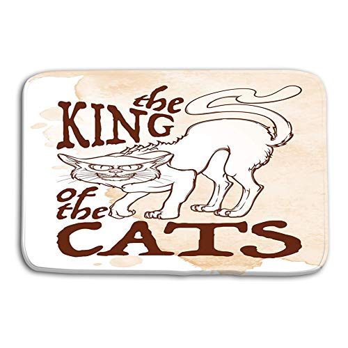 grr4ssd456 Kitchen Floor Bath Entrance Door Mats Rug King Cats Retro Card Halloween rerto Intricate Hand Drawing Folk Tale Halloween Concept Lovely Non Slip Bathroom Mats 23.6