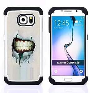 - Grunge Smile Teeth/ H??brido 3in1 Deluxe Impreso duro Soft Alto Impacto caja de la armadura Defender - SHIMIN CAO - For Samsung Galaxy S6 G9200