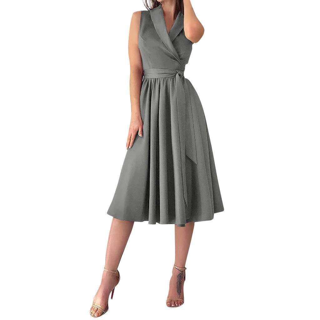 Womens Party Dress Holiday Sexy Sleeveless Lace-Up V-Neck Bowknot Beach Dress Elegant Evening Dress (L, Gray)
