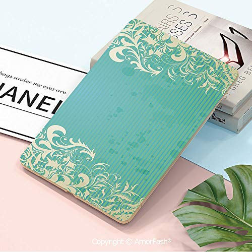 (Printed Galaxy Tab A 10.5 Case,Ultra Slim Trifold Stand PU Case Smart Cover for Samsung SM-T590 / T595 / T597, Vintage,Old Fashioned Frame with Grungy Ancient Floral Curlicues Baroque Revival Motifs D)
