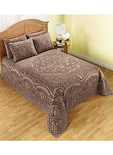 Better Trends Trevor Collection in Geometric Design 100% Cotton Tufted Chenille, Queen Bedspread Set, Cocoa (Queen Bedspread Chenille)