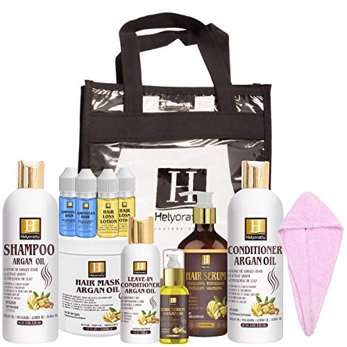bundle 12 in 1Moroccan Argan Oil Shampoo Hair Care Set – Shampoo, Conditioner,Hair Mask, Leave-In Conditioner,Serum…