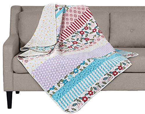 SLPR Summer Festival Printed Quilted Throw Blanket (50 x 60)   Home Chic Multicolor Decorative Throw for Bed Couch Sofa