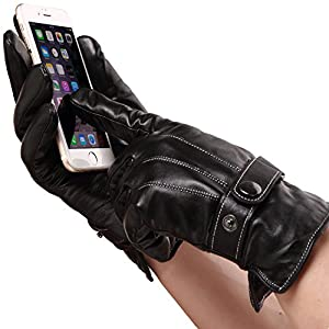 Mens Luxury Touchscreen Italian Nappa Genuine Leather Winter Warm Gloves for Texting Driving Warm Lining
