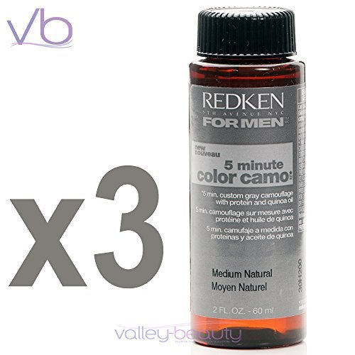 Redken For Men 5 Minute Color Camo - Medium Natural 2oz  (3 pack) (Best Natural Hair Color For Grey Hair)
