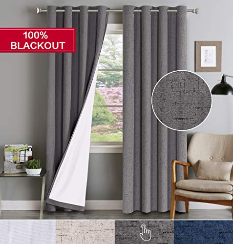 Flamingo P 100% Blackout Waterproof Linen Curtains for Bedroom Home Decorative Thermal Insulated Grommet Top Energy Saving Window Panels for Living Room/Patio/Bedroom (1 Pair, 52 x 96- Inch, Gray)