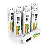 EBL Rechargeable AA Batteries 2800mAh, 8 Pack High Performance 1200 Cycle Ni-MH Batteries