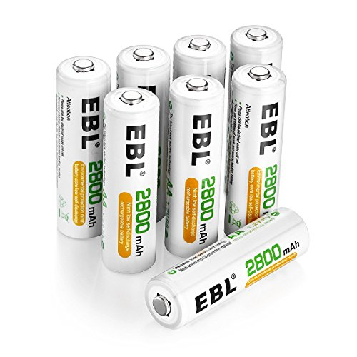 EBL AA Rechargeable Batteries 2800mAh, 8 Pack High Performance 1200 Cycle...