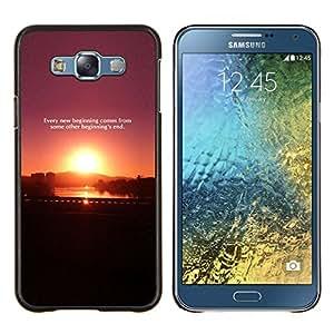 """Be-Star Único Patrón Plástico Duro Fundas Cover Cubre Hard Case Cover Para Samsung Galaxy E7 / SM-E700 ( Sunset Cita Mensaje púrpura del ciruelo Negro"""" )"""