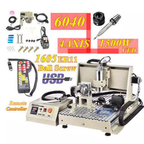 4 Axis USB 1.5KW CNC 6040T Router Engraver Engraving Mill/Drilling Machine + RC for PCB Badges Bronzing Plate etc