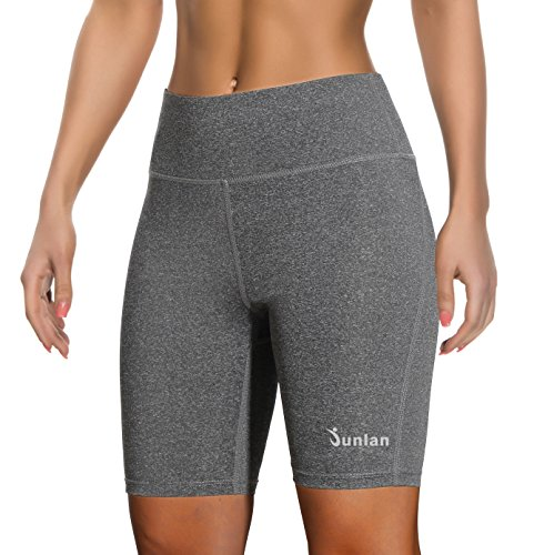 Women Yoga Shorts Pants Workout Running High Waist Athletic Short Sport Fitness Jogging Tights Tummy Control Clothes (Grey, XXL)
