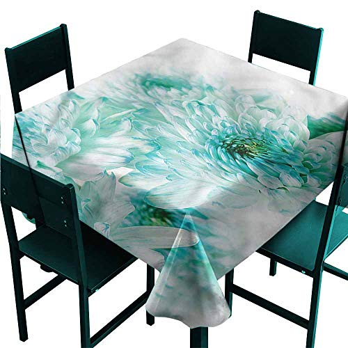 Iridescent cloud Aqua Washable Table Cloth Asian Dahlia Flowers and Buds Indoor Outdoor Camping Picnic W36 x L36