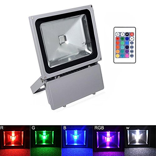 GEROWA Flood Light LED Outdoor Waterproof Floodlight 100W RGB with Remote Control 16 Colors 4 Modes Adjustable