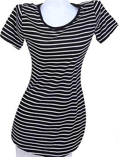 Dresses Short Striped Neck Sleeve Hem Womens Crew Black Waist Jaycargogo Accept Irregular nv6TfWvx