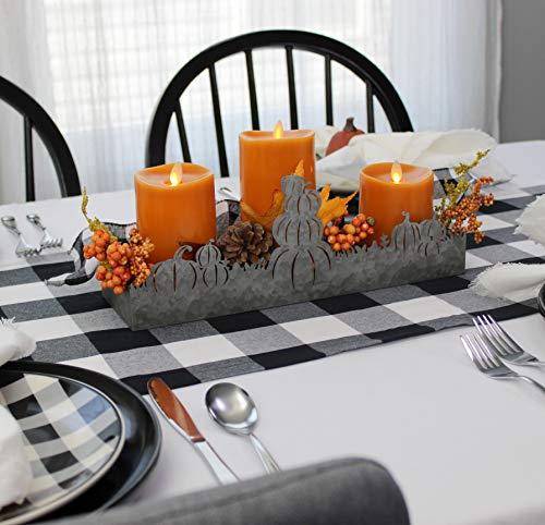 Thanksgiving Table Decor Ideas (AuldHome Fall Decor Galvanized Tray, Field of Pumpkins Silhouette Farmhouse Decor Metal Tray 14 x 4 x 5)