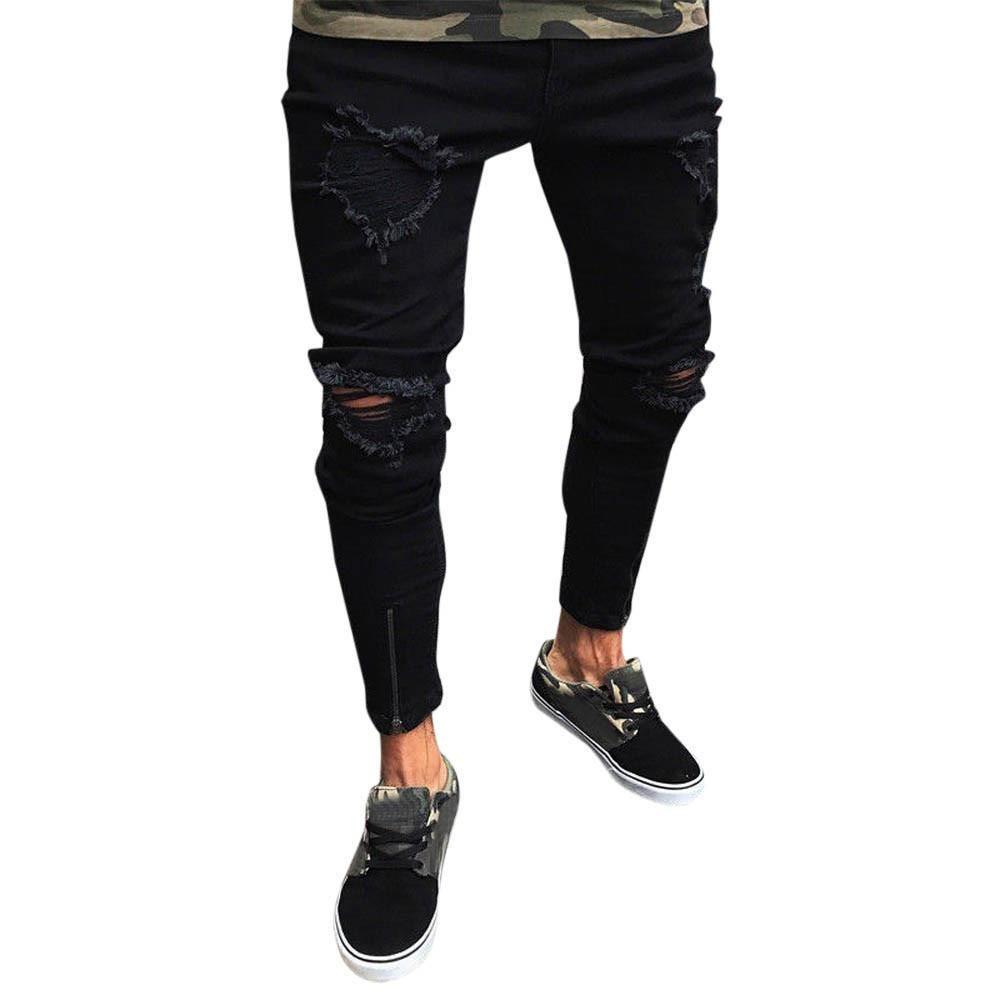iZHH Men Slim Biker Denim Jeans Skinny Frayed Pants Distressed Rip Trousers(Black,M)