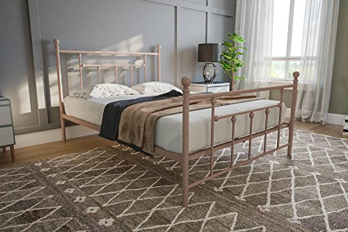 Full Size Victorian Headboard - DHP Manila Metal Bed with Victorian Style Headboard and Footboard, Includes Metal Slats, Full Size, Millennial Pink