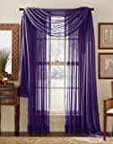 "LuxuryDiscounts Beautiful Elegant Solid Purple Sheer Scarf Valance Topper 37"" X 216"" Long Window Treatment Scarves"